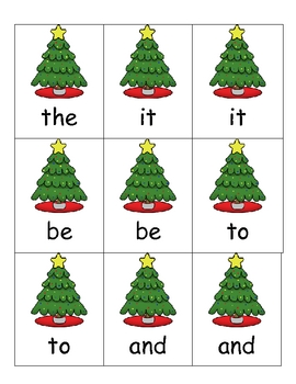 Sight Word Game -- Christmas Trees