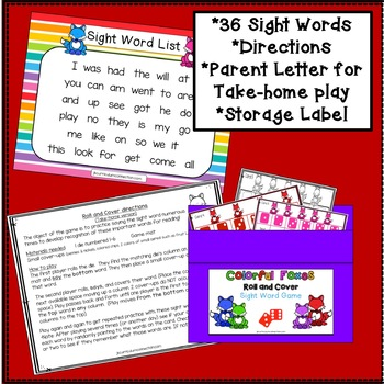 Sight Word Game - Colorful Foxes Roll and Cover