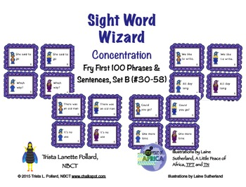 Sight Word Game: Concentration (Fry First 100 Phrases Set B)