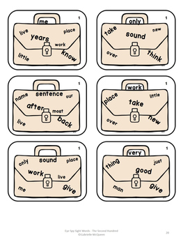 """Sight Word Game- """"Eye"""" Spy: The Second Hundred"""