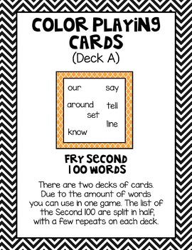 Sight Word Game - FRY Second 100