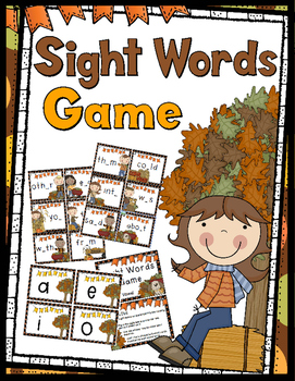 Sights Words Game (Fall Themed) - 30 Sight Word Cards: Find the Missing Vowel