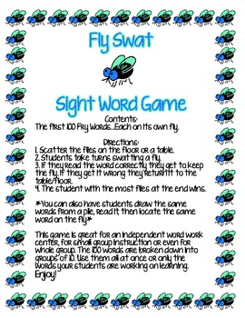 Sight Word Game: Fly Swat