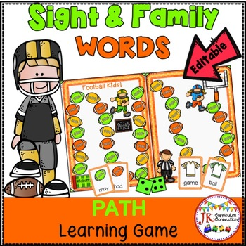 Sight Words AND Family Words Game - Football Fun! {EDITABLE}