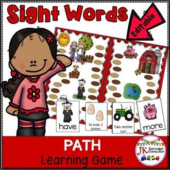 Sight Word Game - Farm Fun Path Game {EDITABLE}
