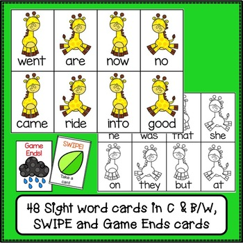 Sight Word Game - Giraffe SWIPE {EDITABLE}