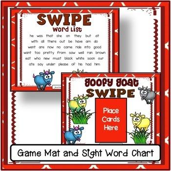 Sight Word Game – Goofy Goats SWIPE Game {EDITABLE}