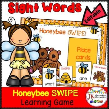 Sight Word Game - Honeybee SWIPE Game {EDITABLE}
