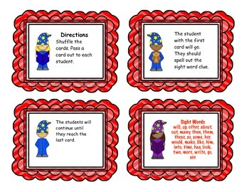 "Sight Word Game: ""I Have, Who Has"" (Fry List 3)"