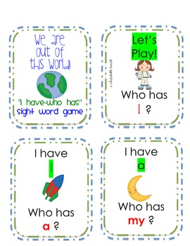 Sight Word Game: I Have Who Has Kindergarten or First Grade Review