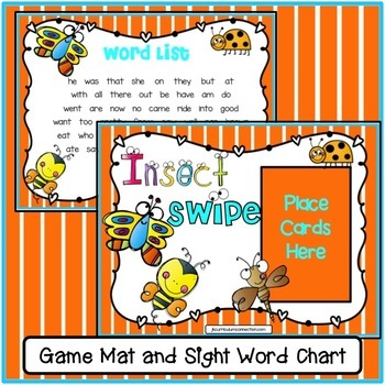 Sight Word Game - Insect SWIPE Game {EDITABLE}