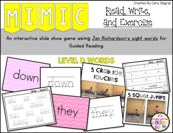 Sight Word Game - Jan Richardson Level D Sight Words