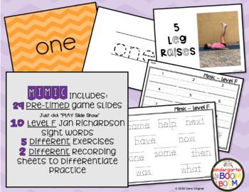Sight Word Game - Jan Richardson Level F Sight Words