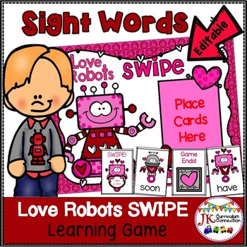 Sight Word Game – Love Robots SWIPE Game {EDITABLE}