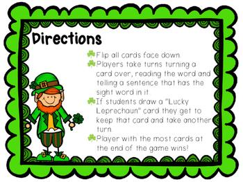 Sight Word Game - Lucky Leprechaun