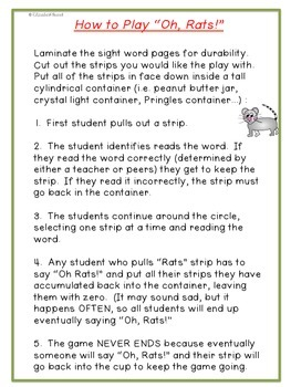 Sight Word Game: Oh, Rats! 179 Pre-Primer to 2nd grade Dolch Sight Words