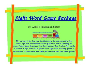 Sight Word Game Package