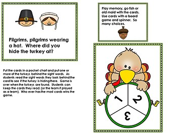 Sight Word Game Pilgrims (& Editable Page Included)