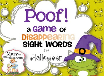 sight word game poof a game of disappearing sight words for halloween - Words About Halloween