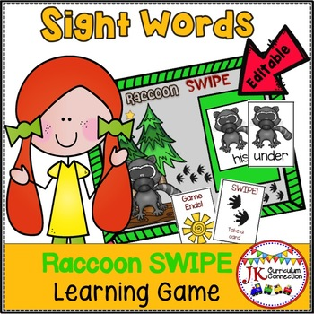Sight Word Game - Raccoon SWIPE { EDITABLE}