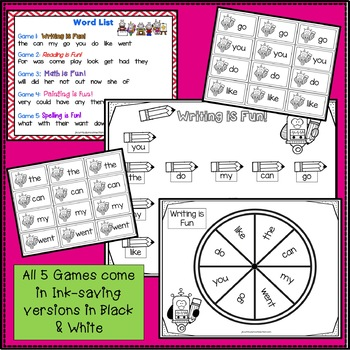Sight Word Game - Robot Fun BUMPER {EDITABLE}