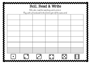 Sight Word Game Roll, Read, Write AUS