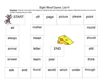 Sight Word Game: Roll the Dice and Read the Words!