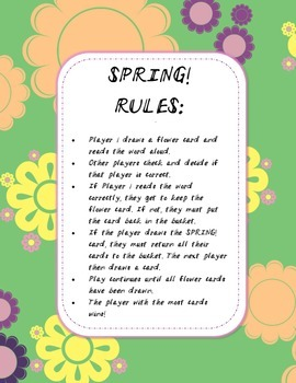 Sight Word Game - SPRING!