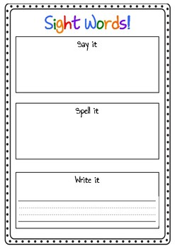 Sight Word Game - Say it, Spell it, Write it