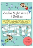Sight Word Game Scuba Sight Word 3 Strikes for Individual Student Practice Lists