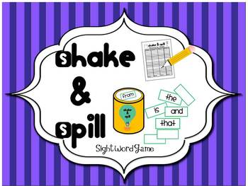 Sight Word Game: Shake and Spill