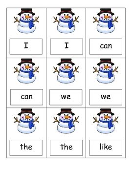 Sight Word Game -- Snowman (Winter)
