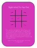 Sight Word Game: Tic-Tac-Toe