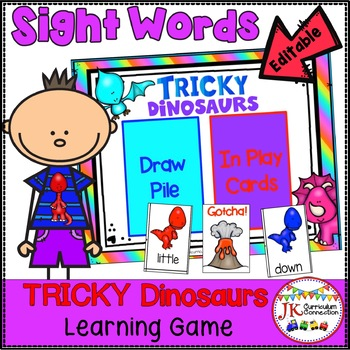 Sight Word Game - Tricky Dinosaurs {EDITABLE}