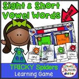 Sight Word  & Short Vowel Game!  TRICKY Spiders! {EDITABLE}
