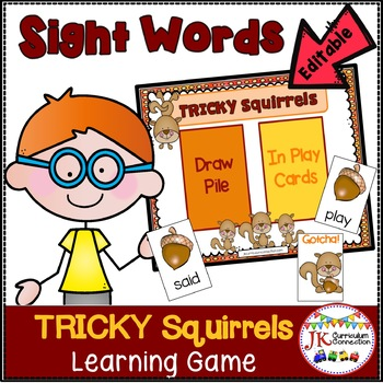 Sight Word Game -Tricky Squirrels! {EDITABLE}