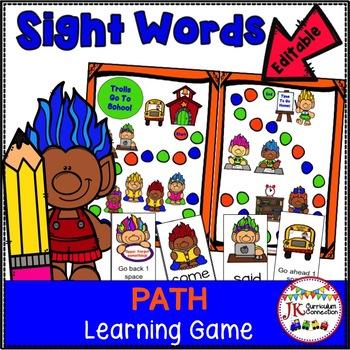 Sight Word Game - Trolls Go To School {EDITABLE}