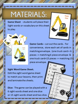 Sight Word Game - Trucks