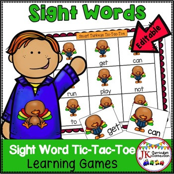 Sight Word Game - Turkey TicTacToe {EDITABLE}