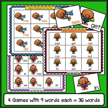 Sight Word Game - Turkey TicTacToe {EDITABLE}