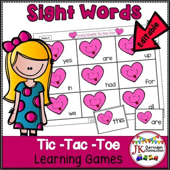 Sight Word Game – Valentine TicTacToe! {EDITABLE}