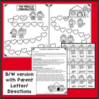 Sight Word Game: Valentine Trolls Fun {EDITABLE}