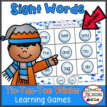 Sight Word Game - Winter Time Tic-Tac-Toe {EDITABLE}