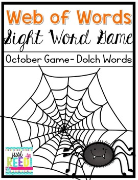 Sight Word Game for October:  Web of Words