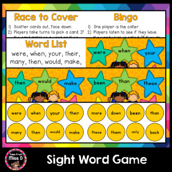 Sight Word Game - Race of the Superheroes