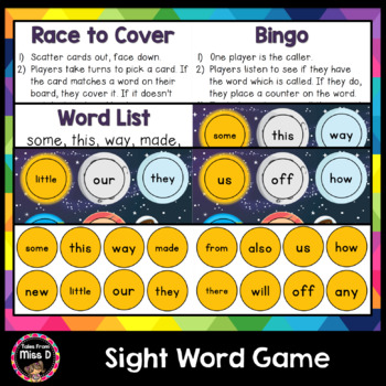 Sight Word Game - Space Race