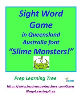 "Sight Word Game in Queensland  Australia font ""Slime Monsters!"""