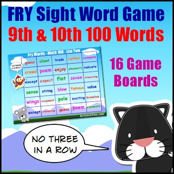 Sight Word Games - Fry List - 9th and 10th Hundred Words