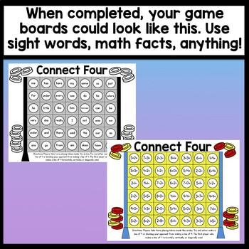 Sight Words Kindergarten Game {Connect 4!}