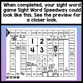 Sight Word Games for Kindergarten {Race to the the Finish}